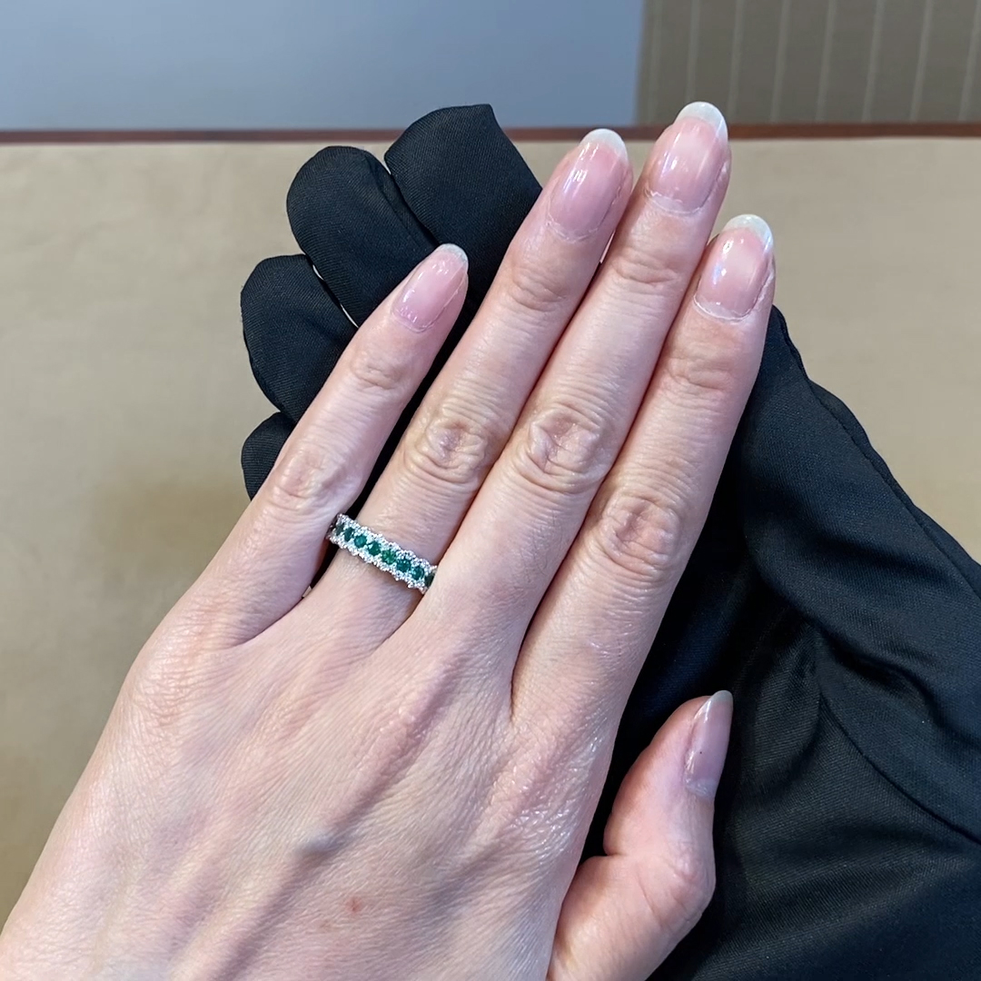 Emerald and Diamond Eternity Ring<br /> 0.75CT in 18CT White Gold