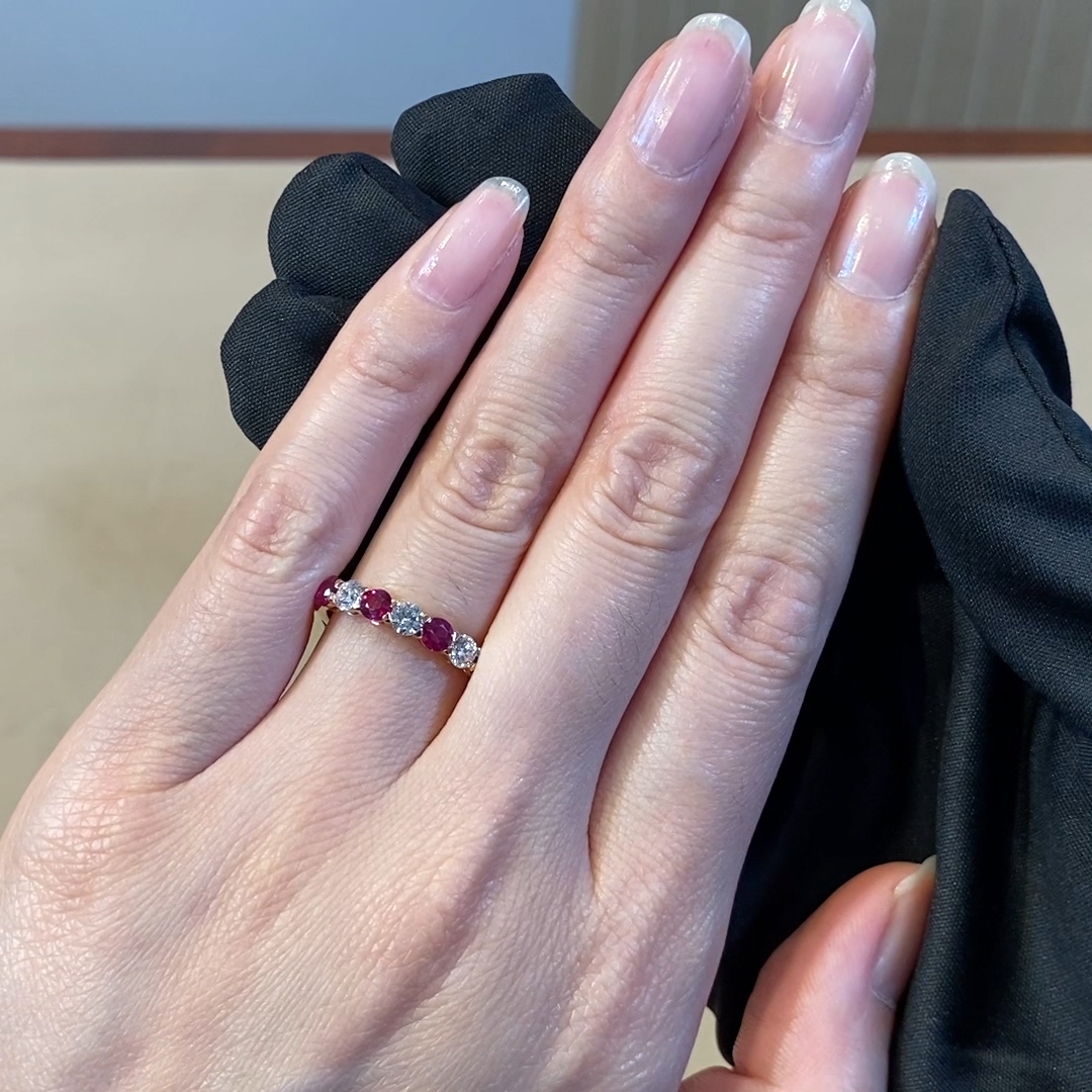 Ruby and Diamond Seven-Stone Ring<br /> 1.24CT in 18CT Rose Gold