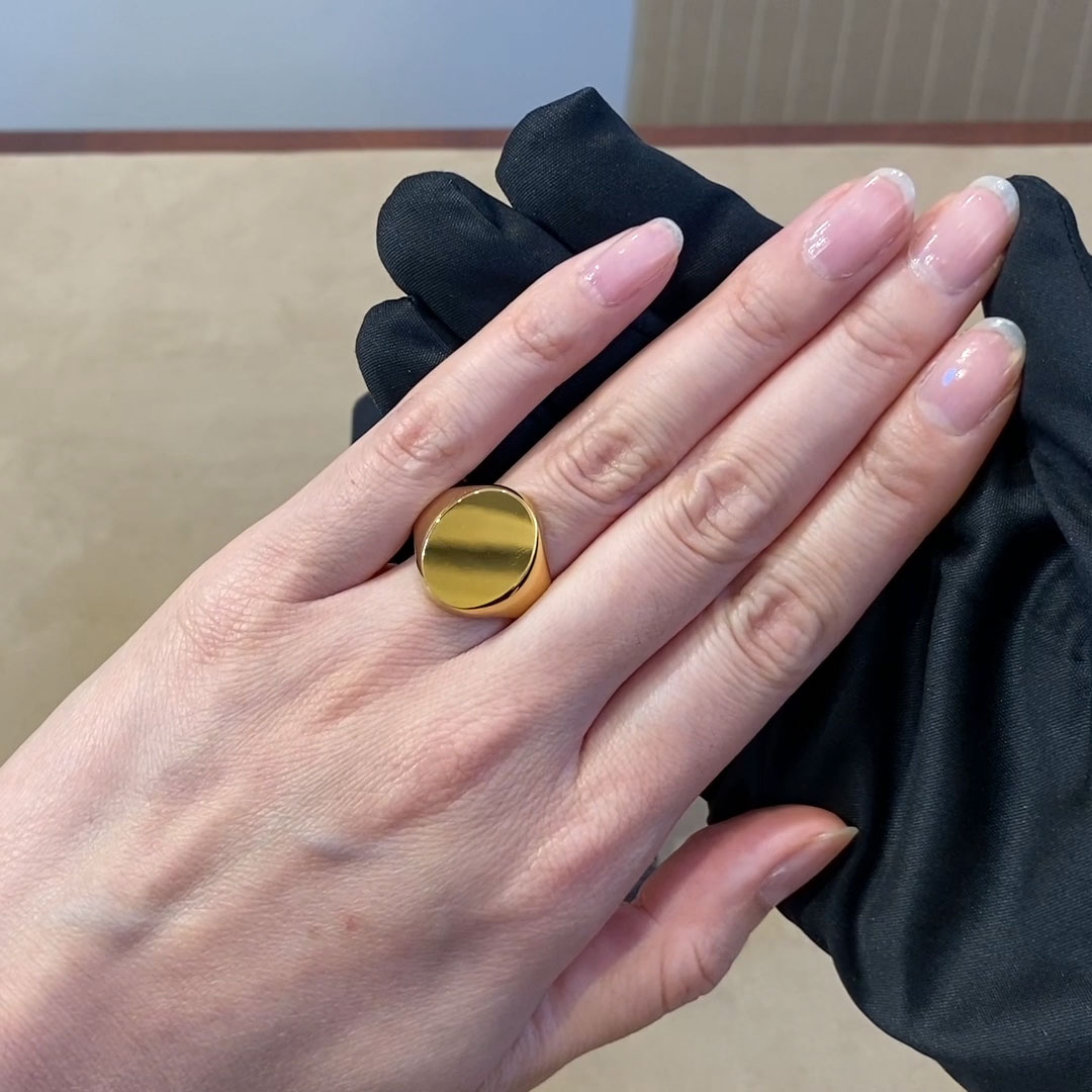 Plain Oval Signet Ring<br /> in 18CT Yellow Gold