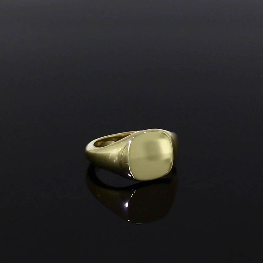 Plain Cushion Signet Ring<br /> in 18CT Yellow Gold
