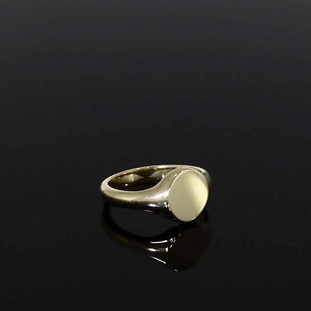 Plain Oval Signet Ring<br /> in 9CT Yellow Gold