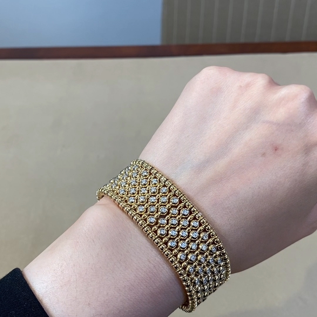Bohemia Diamond Wide Bangle<br /> 2.12CT in Yellow Gold