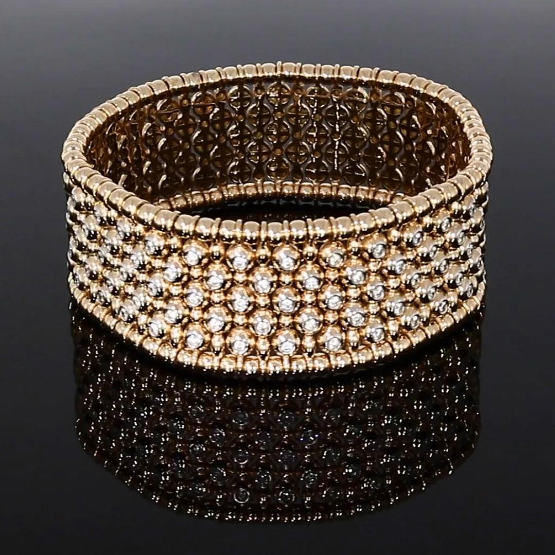 Bohemia Diamond Wide Bangle<br /> 2.12CT in Rose Gold