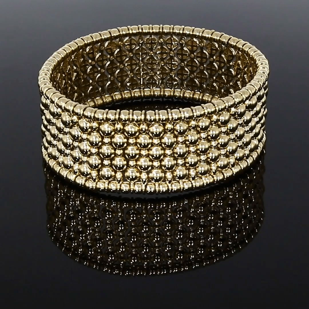 Bohemia Wide Bangle<br /> in Yellow Gold