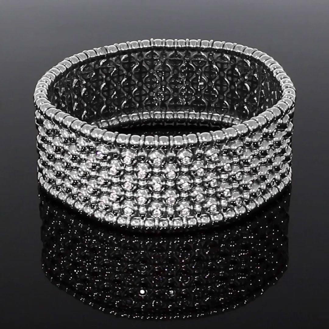 Bohemia Diamond Wide Bangle<br /> 2.28CT in White Gold