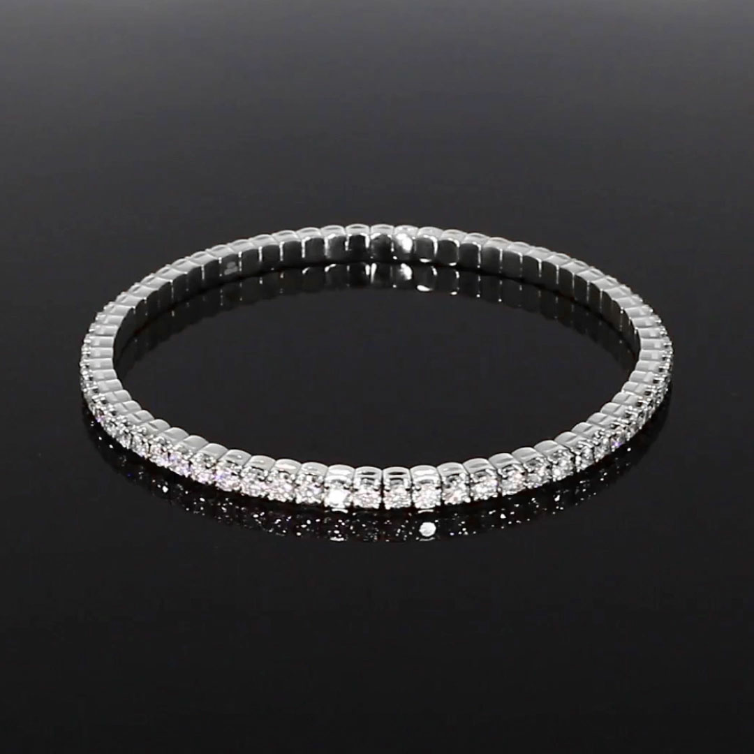 Expandable Diamond Bangle <br /> 4.21ct in White Gold