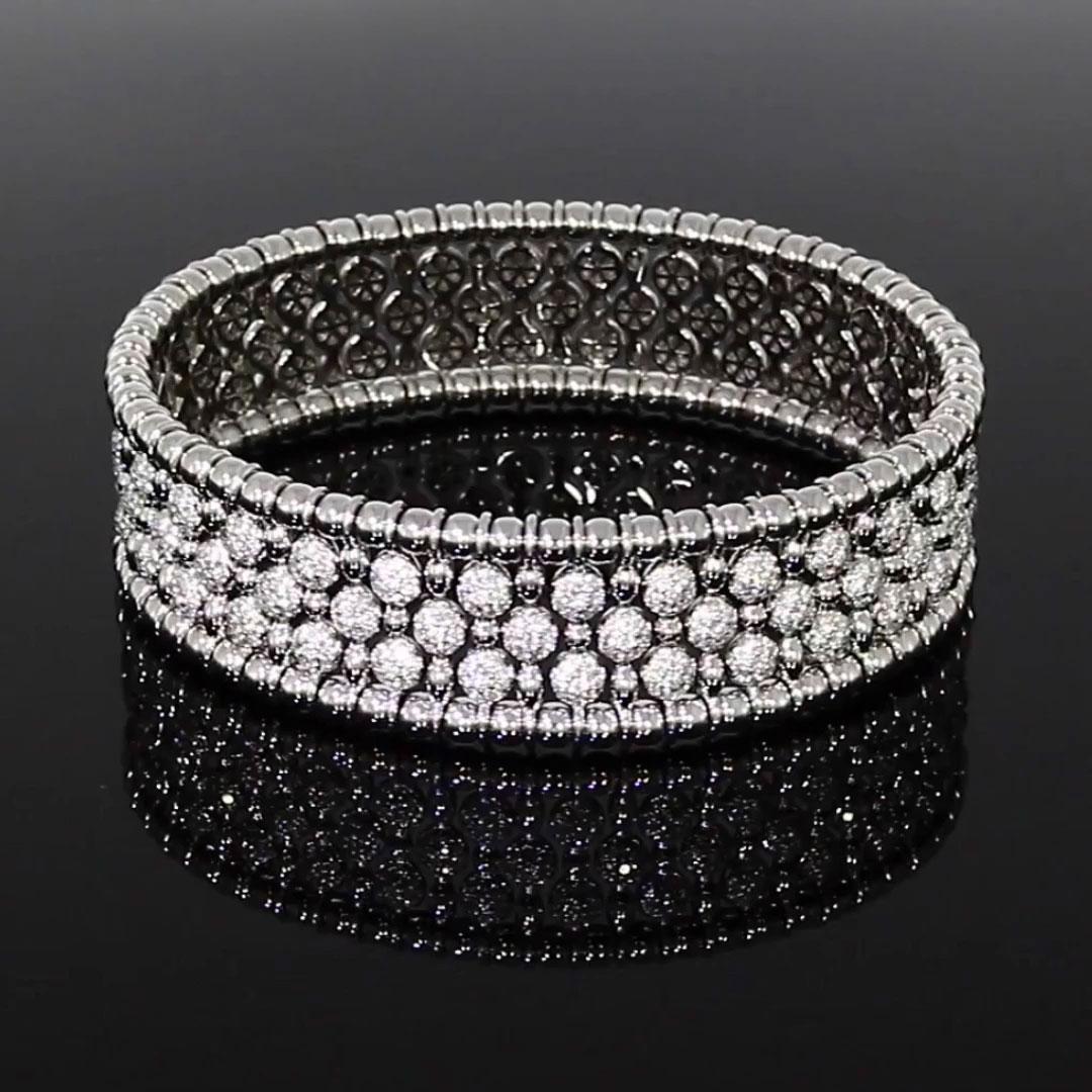 Bohemia Diamond Wide Bangle<br /> 4.41CT in White Gold