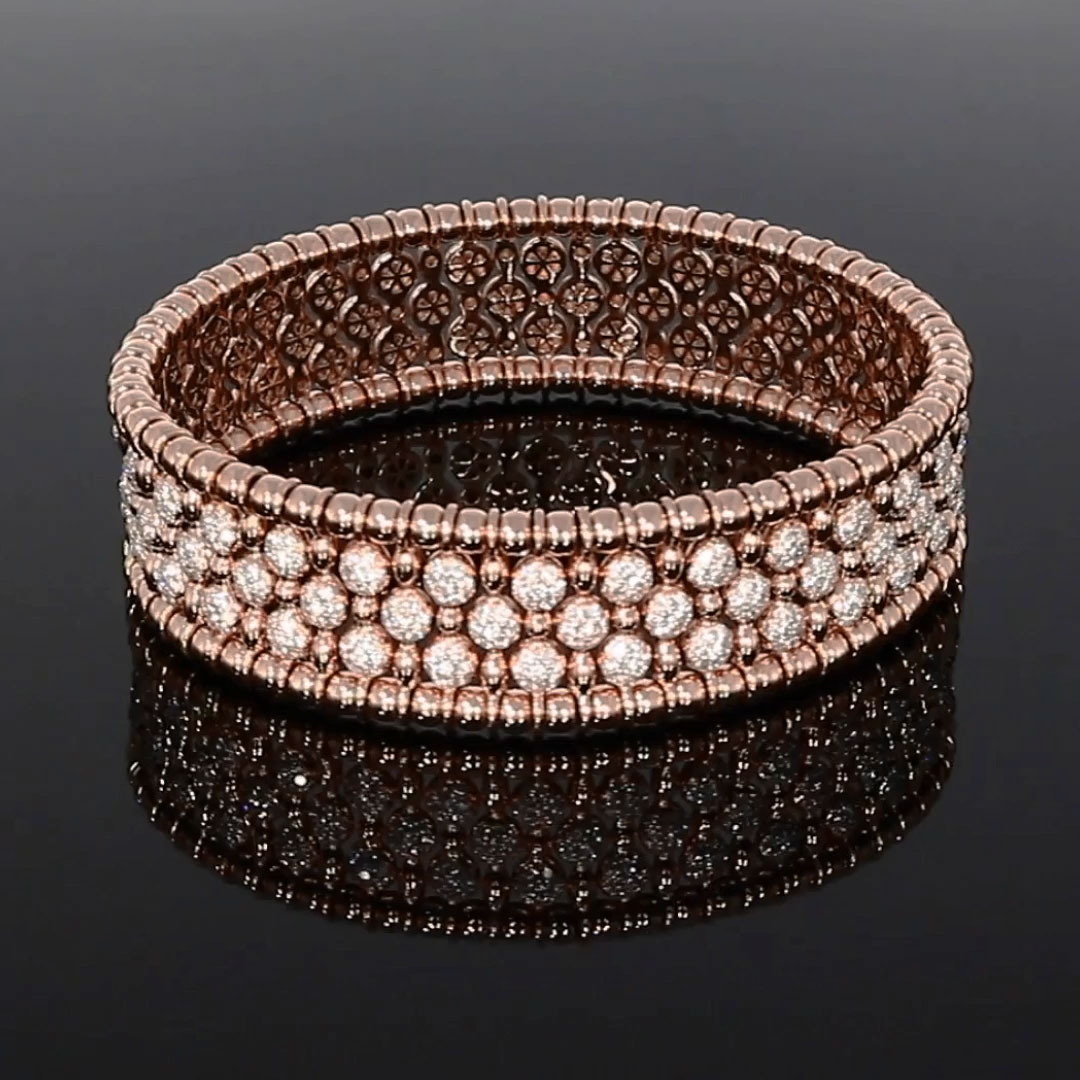 Bohemia Diamond Wide Bangle<br /> 4.41CT in Rose Gold