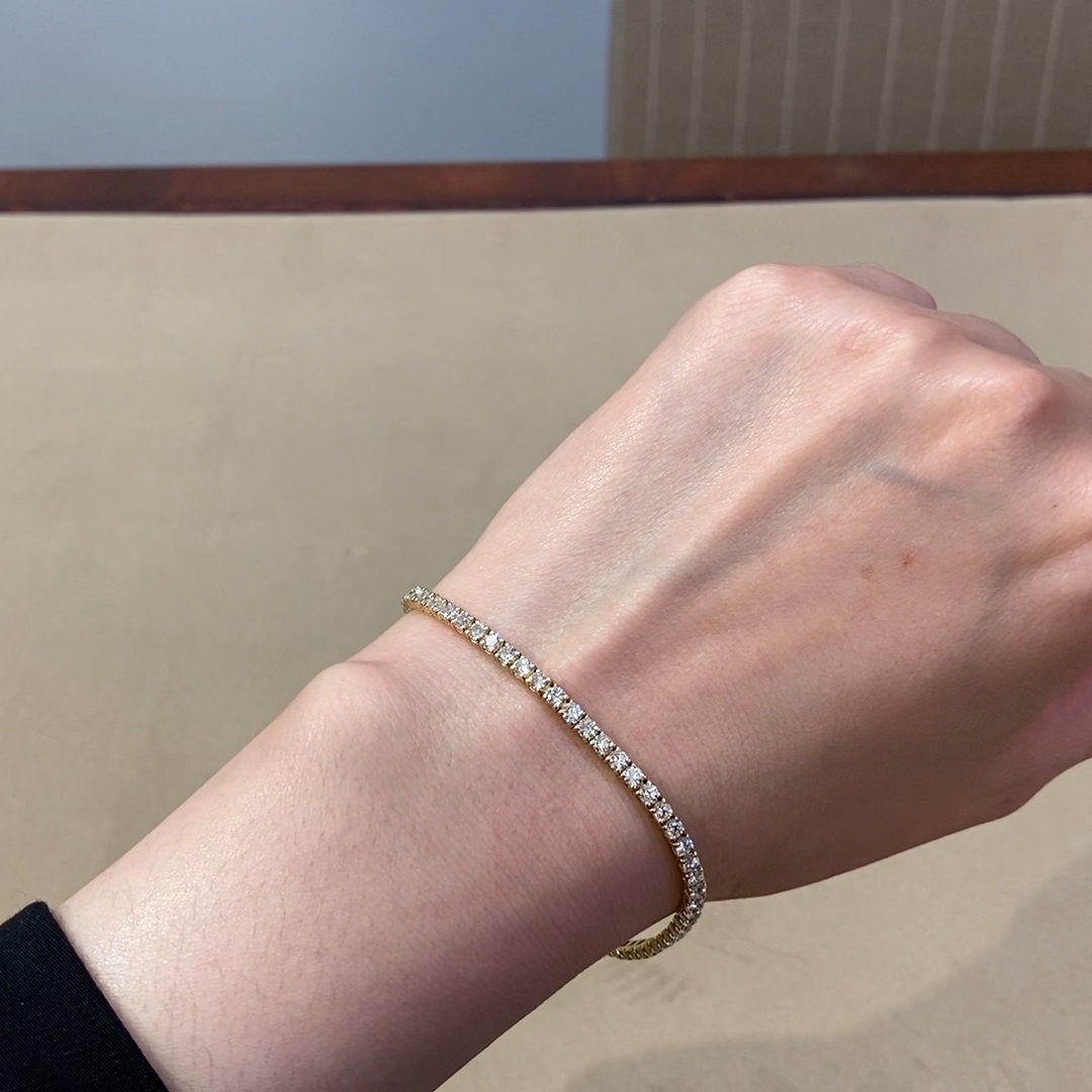 Diamond Line Bracelet<br /> 3.74CT in 18CT Yellow Gold