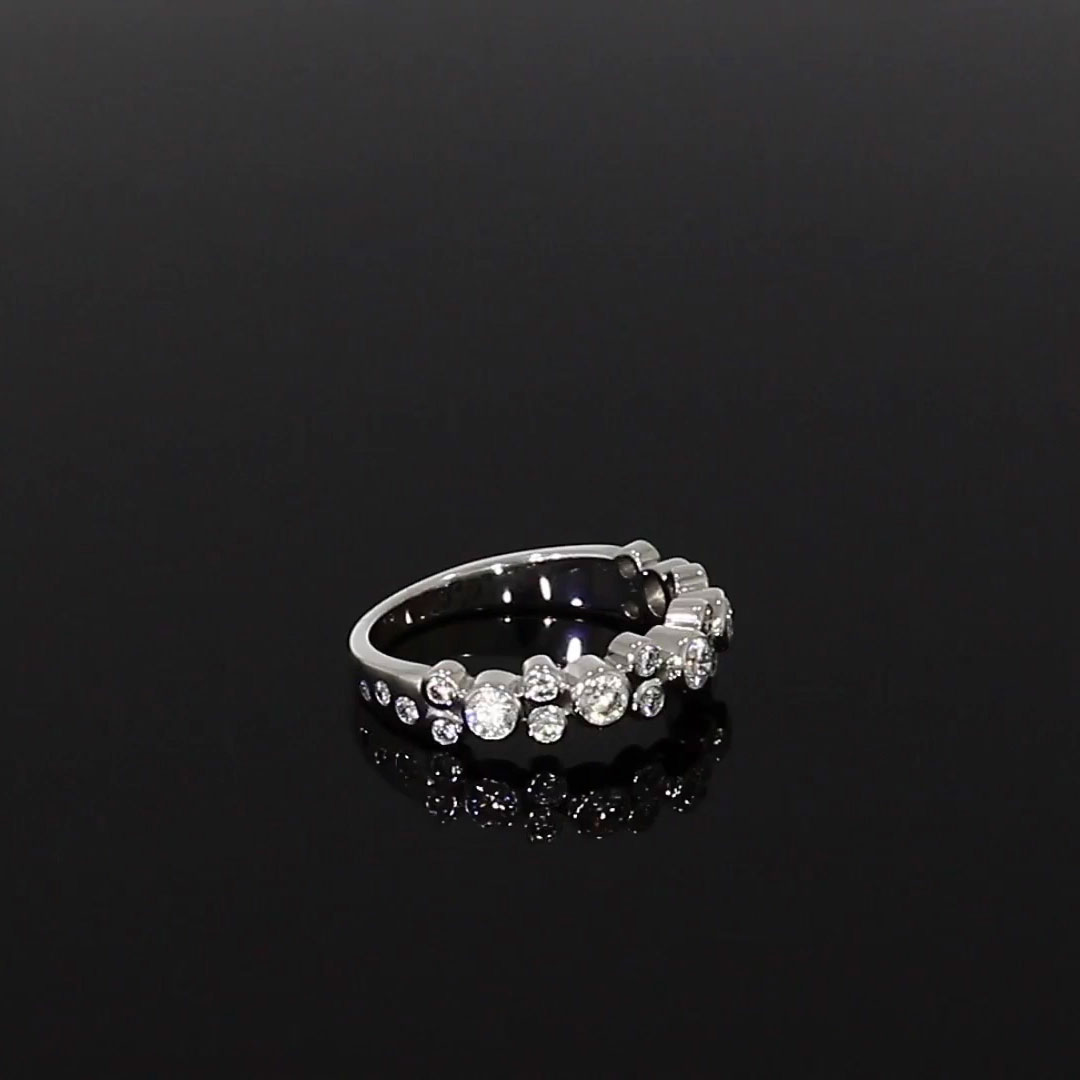 Bubbles Diamond Band Ring<br /> 0.77CT in White Gold