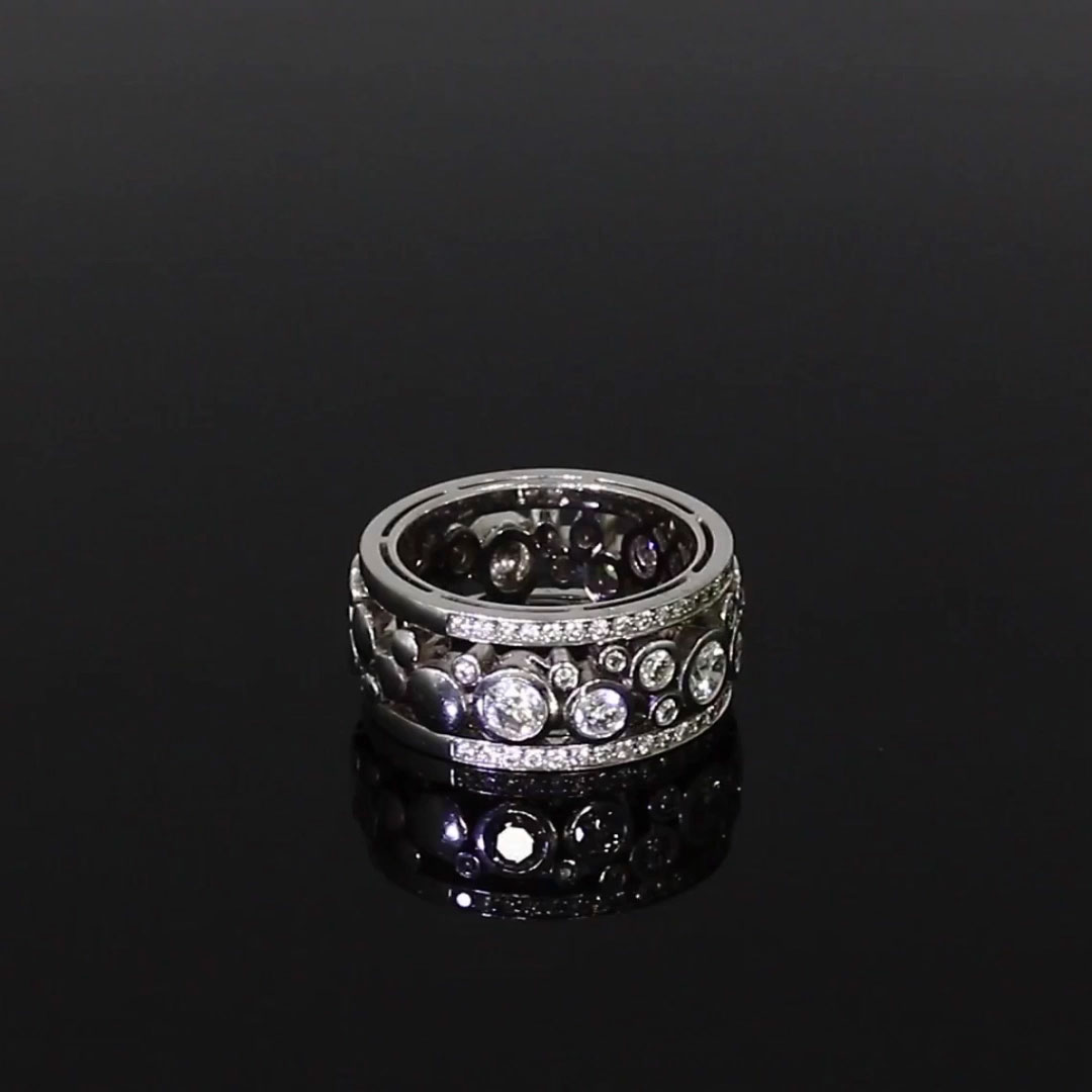 Bubbles Band Diamond Ring<br /> 1.52CT in White Gold