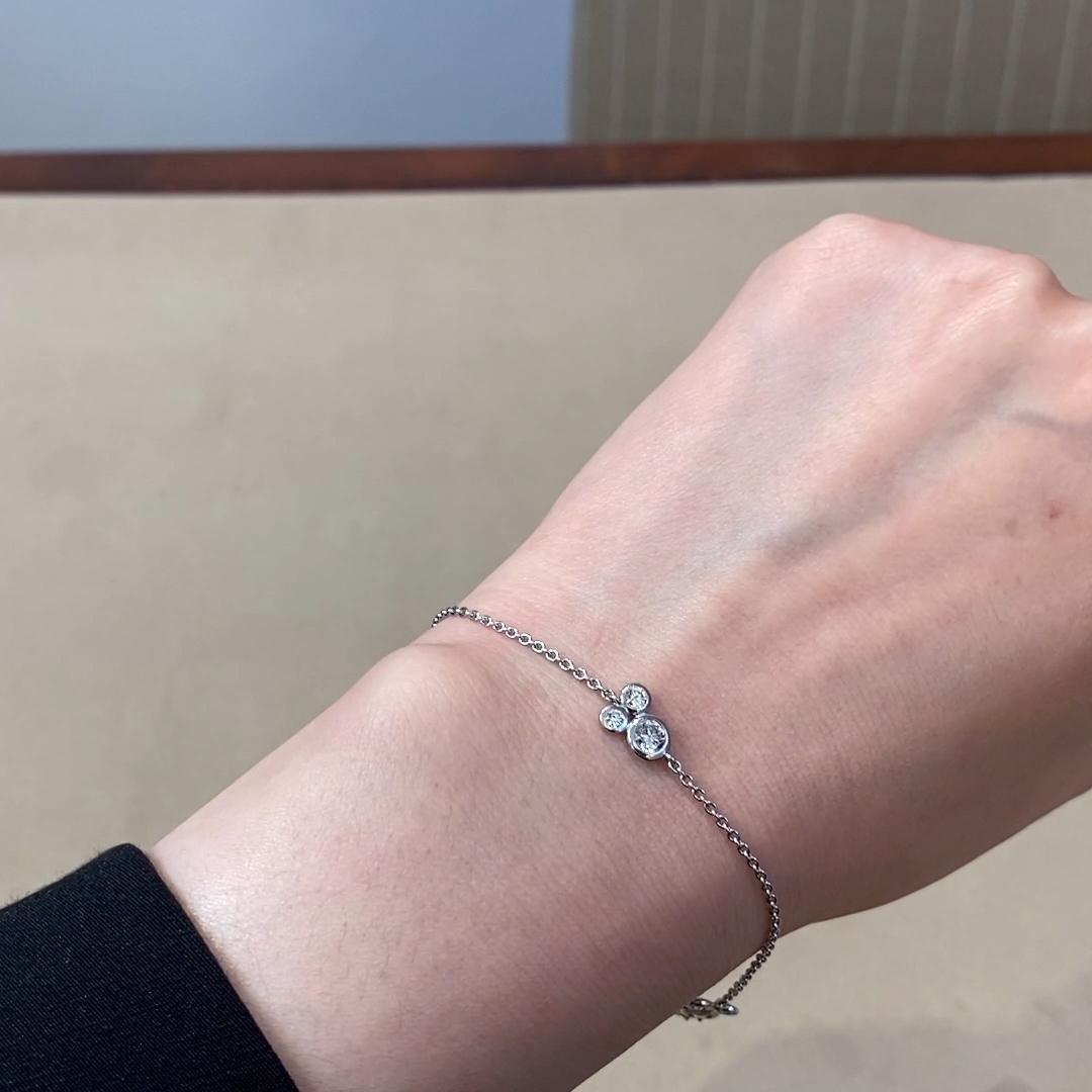 Bubbles Diamond Chain Bracelet<br /> 1.24CT in White Gold