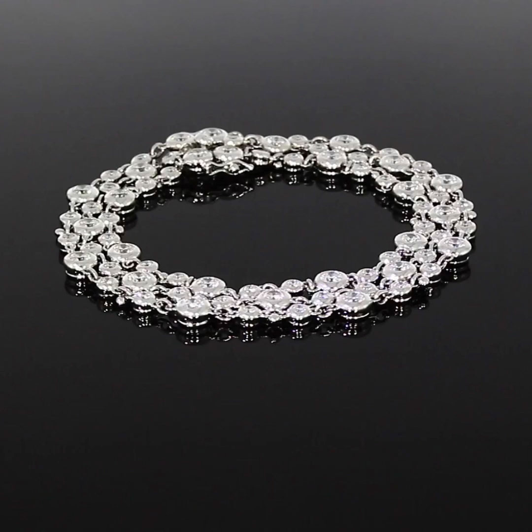 Bubbles Diamond Three-Row Bracelet<br /> 5.37CT in White Gold