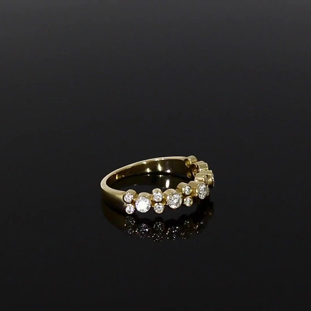 Bubbles Half-Eternity Diamond Ring<br /> 0.77CT in Yellow Gold