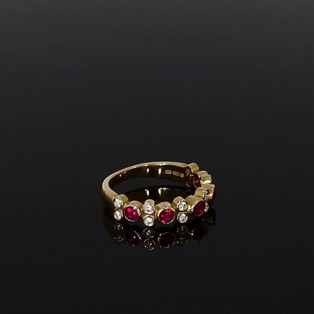 Bubbles Ruby and Diamond Band Ring<br /> 0.92CT in Rose Gold