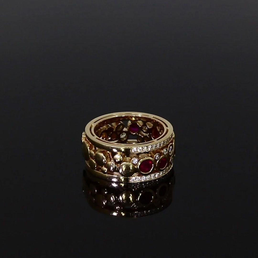 Bubbles Ruby and Diamond Dress Ring<br /> 1.50CT in Rose Gold
