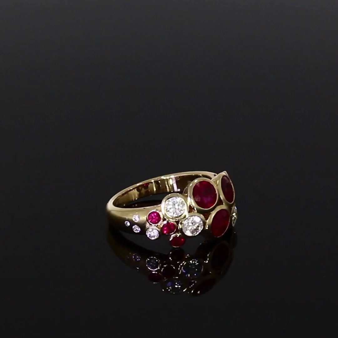 Bubbles Ruby and Diamond Dress Ring<br /> 2.75CT in Rose Gold