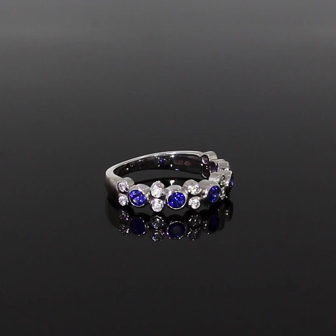 Bubbles Blue Sapphire and Diamond Half-Eternity Ring<br /> 0.86CT in White Gold