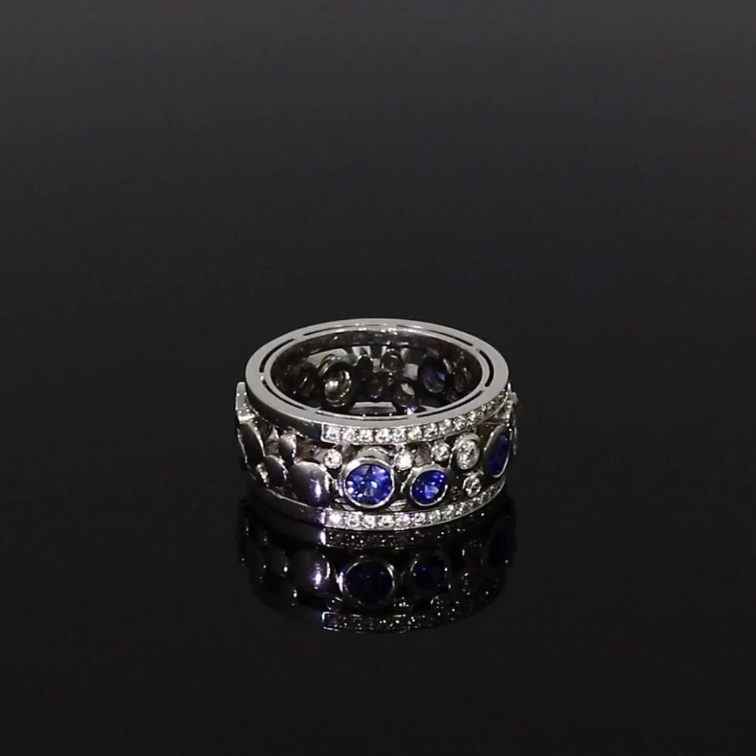 Bubbles Blue Sapphire and Diamond Dress Ring<br /> 1.64CT in White Gold