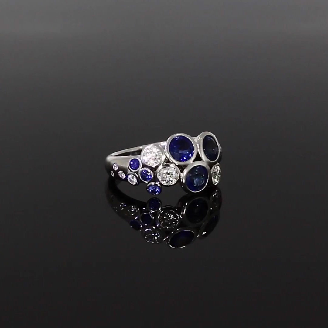 Bubbles Blue Sapphire and Diamond Dress Ring<br /> 2.62CT in White Gold