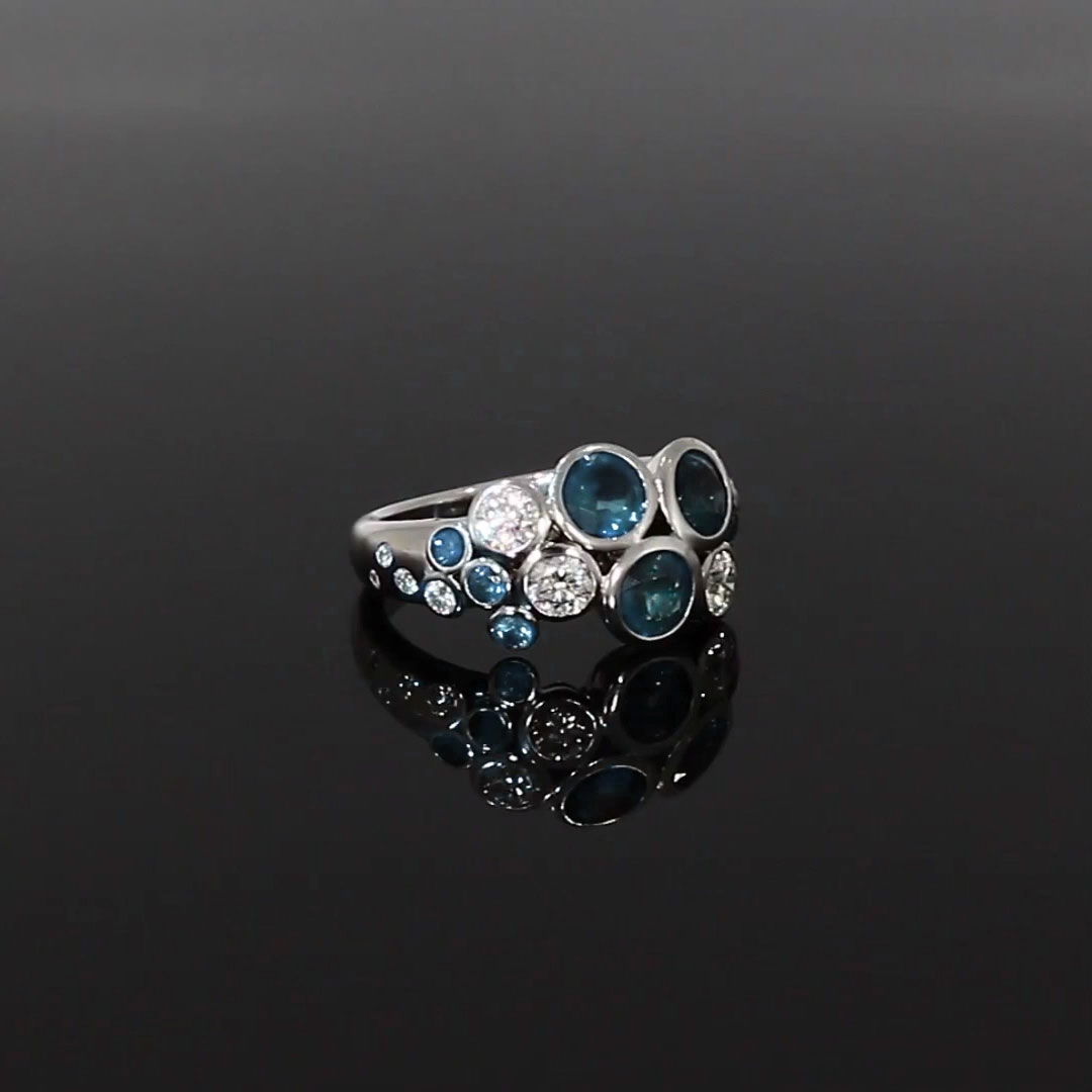 Bubbles Aquamarine and Diamond Cocktail Ring<br /> 2.18CT in White Gold