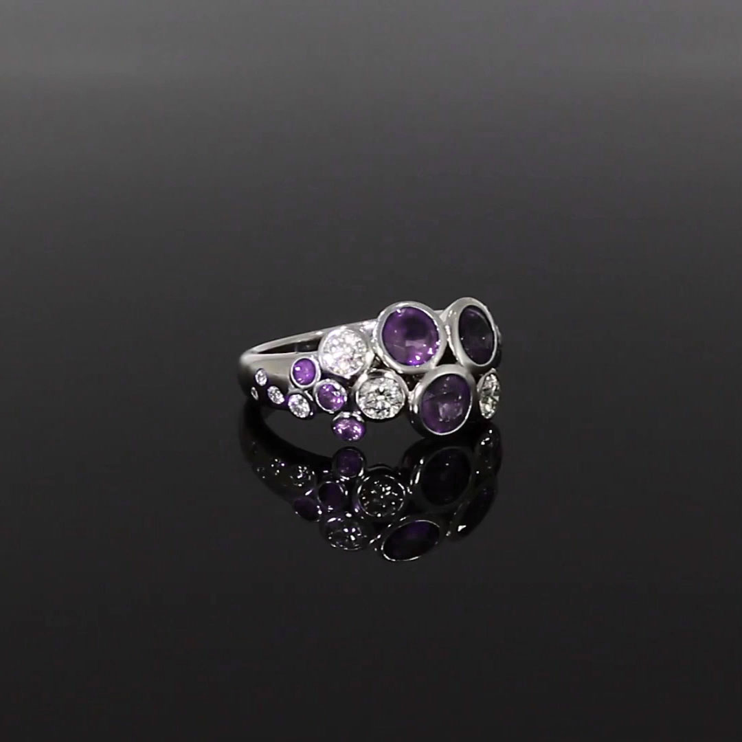 Bubbles Amethyst and Diamond Cocktail Ring<br /> 2.18CT in White Gold