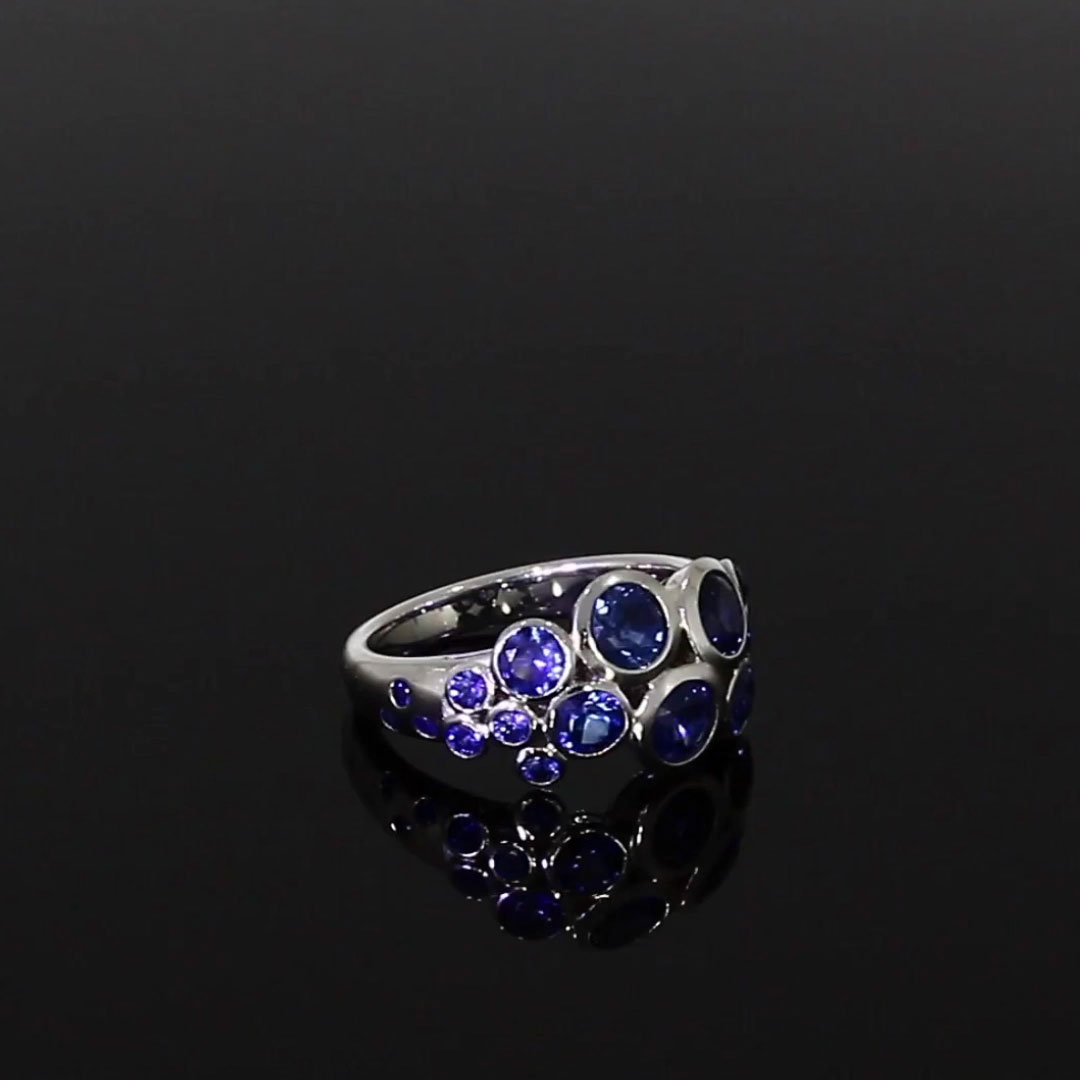 Bubbles Blue Sapphire Cocktail Ring<br /> 2.82CT in White Gold