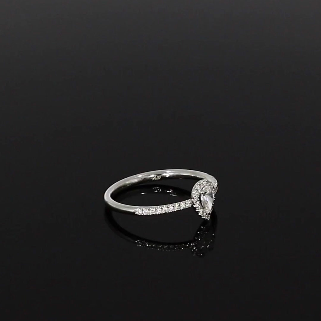 Skinny B Pear Shaped Diamond Ring<br /> 0.31CT in White Gold
