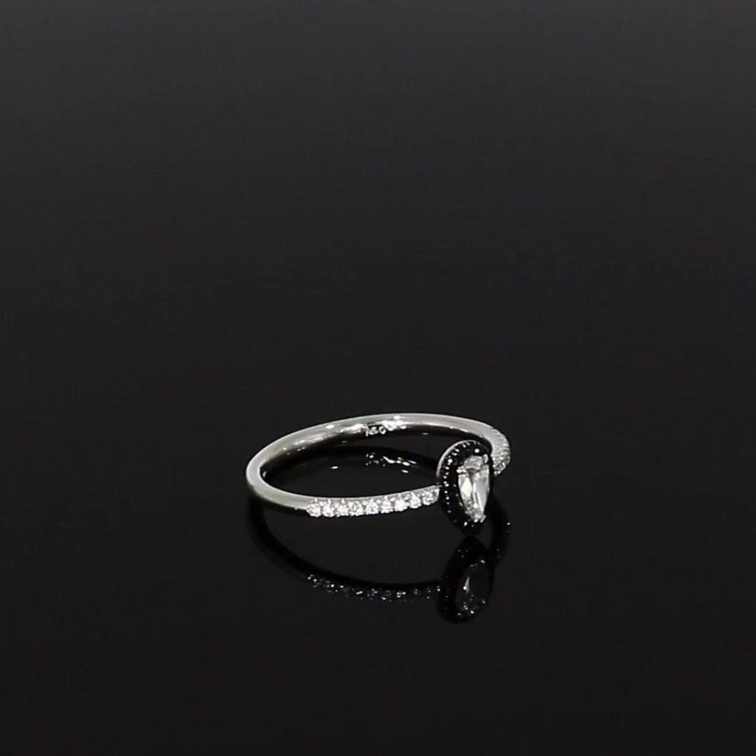Skinny B Pear Shaped Diamond Ring<br /> 0.33CT in White Gold