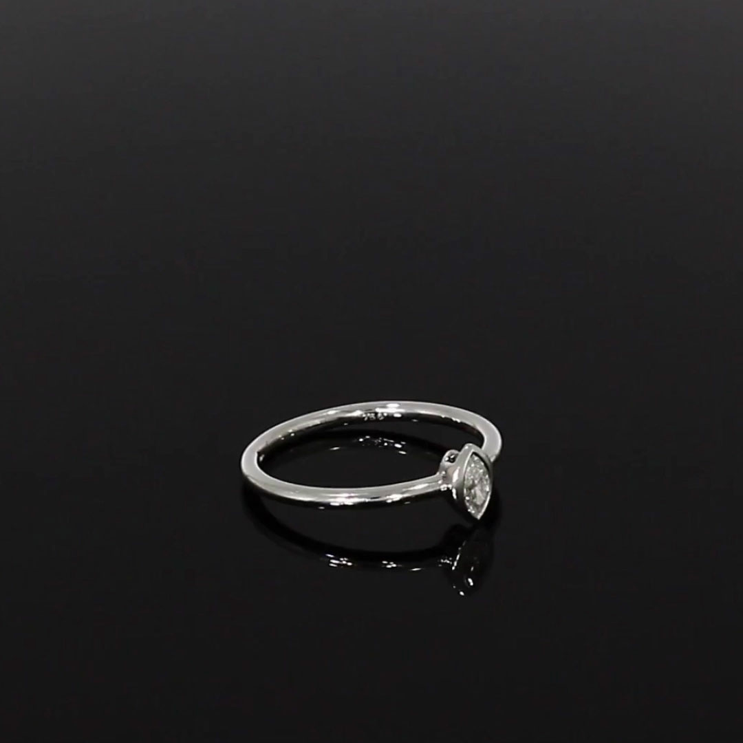 Skinny B Marquise Cut Diamond Ring<br /> 0.17CT in White Gold