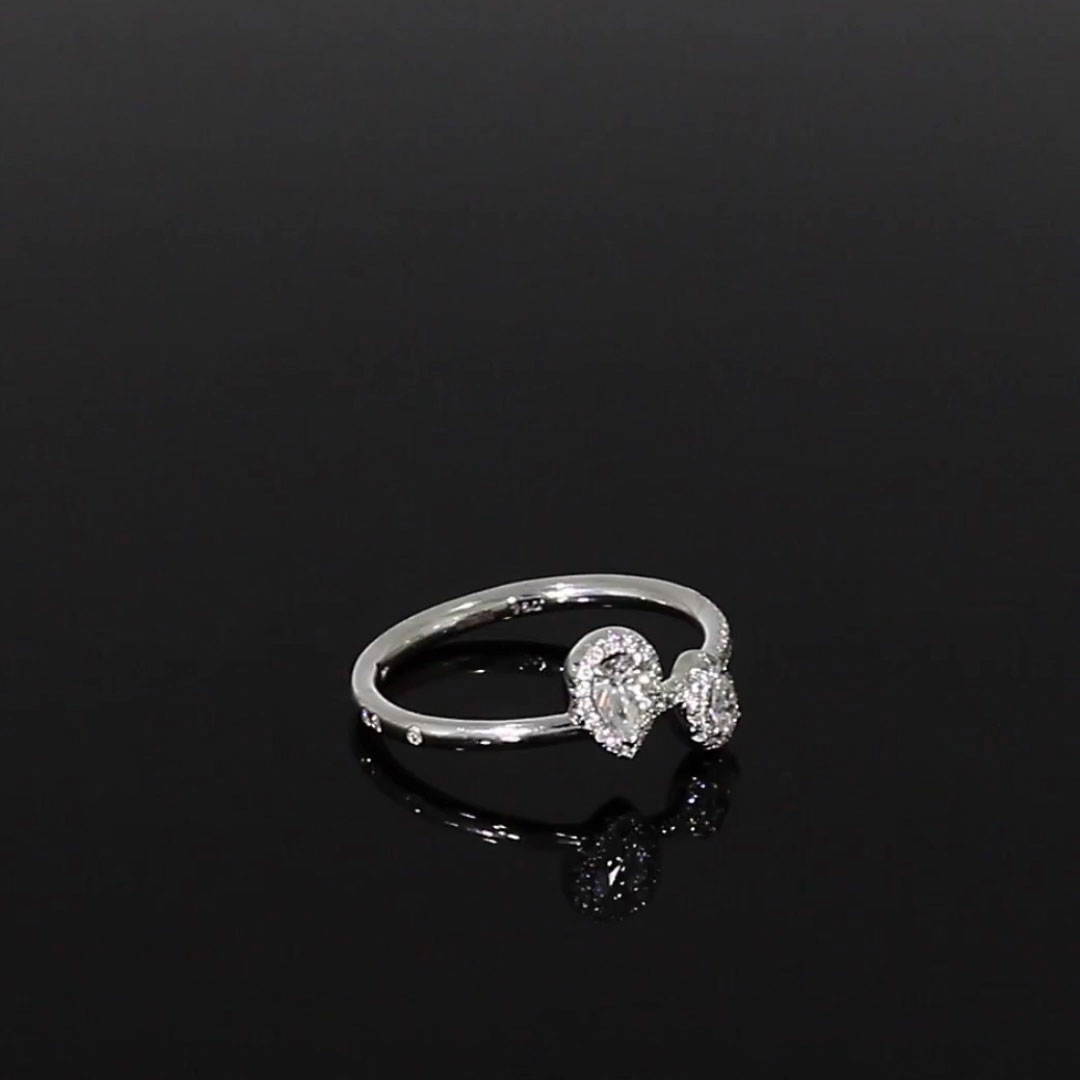 Skinny B Pear Shaped Diamond Ring<br /> 0.38CT in White Gold