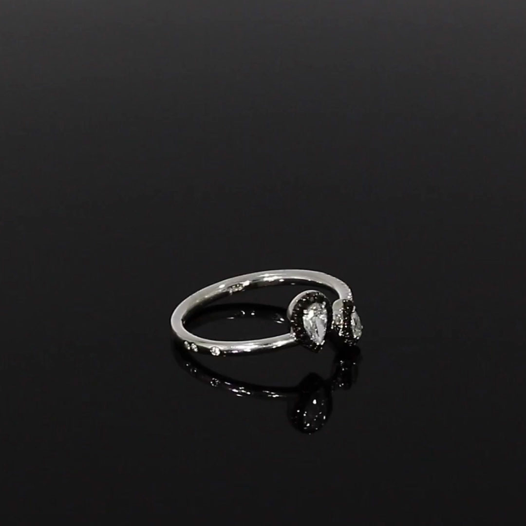 Skinny B Pear Shaped Diamond Ring<br /> 0.40CT in White Gold