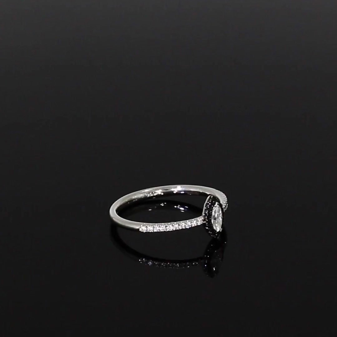 Skinny B Marquise Cut Diamond Ring<br /> 0.25CT in White Gold