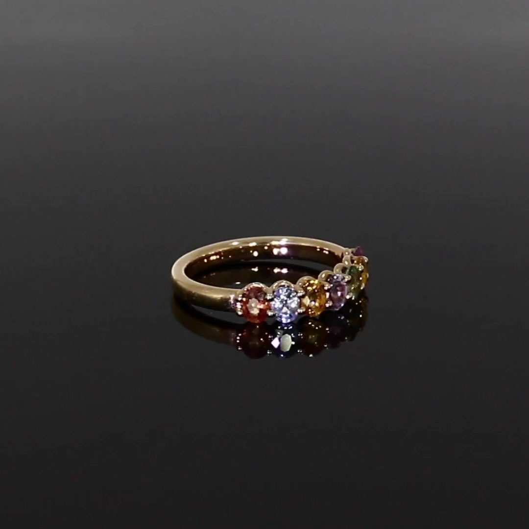 Rainbow Fancy Sapphire Cocktail Ring<br /> 1.54CT in Rose Gold