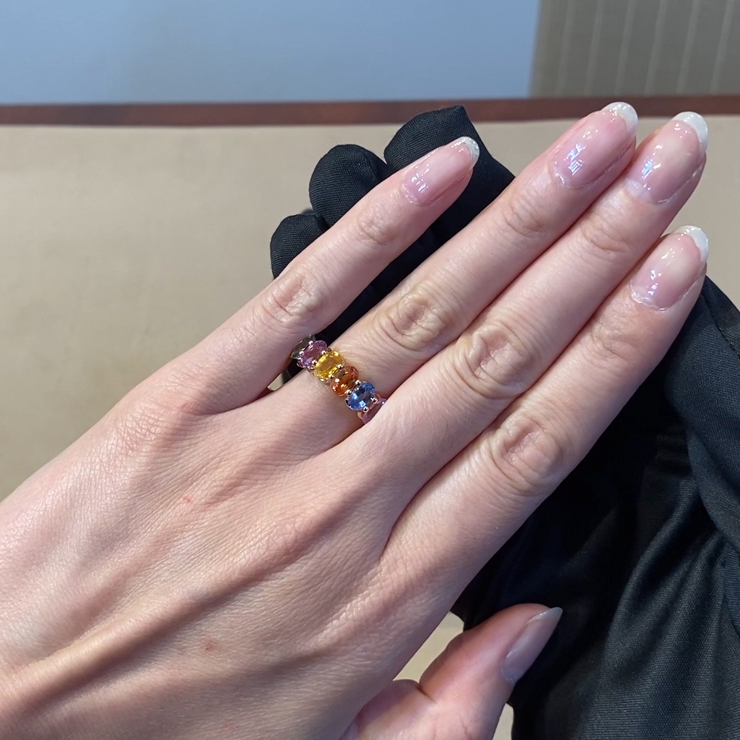 Rainbow Fancy Sapphire Cocktail Ring<br /> 4.00CT in Rose Gold