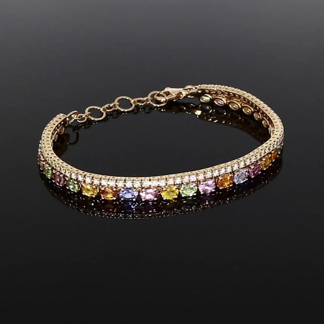 Rainbow Sapphire and Diamond Bracelet<br /> 7.20CT in 18CT Rose Gold