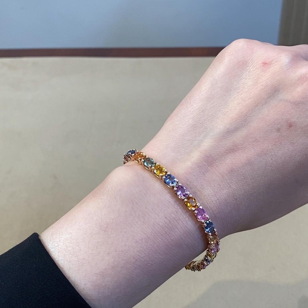 Rainbow Fancy Sapphire Line Bracelet<br /> 16.51CT in Rose Gold
