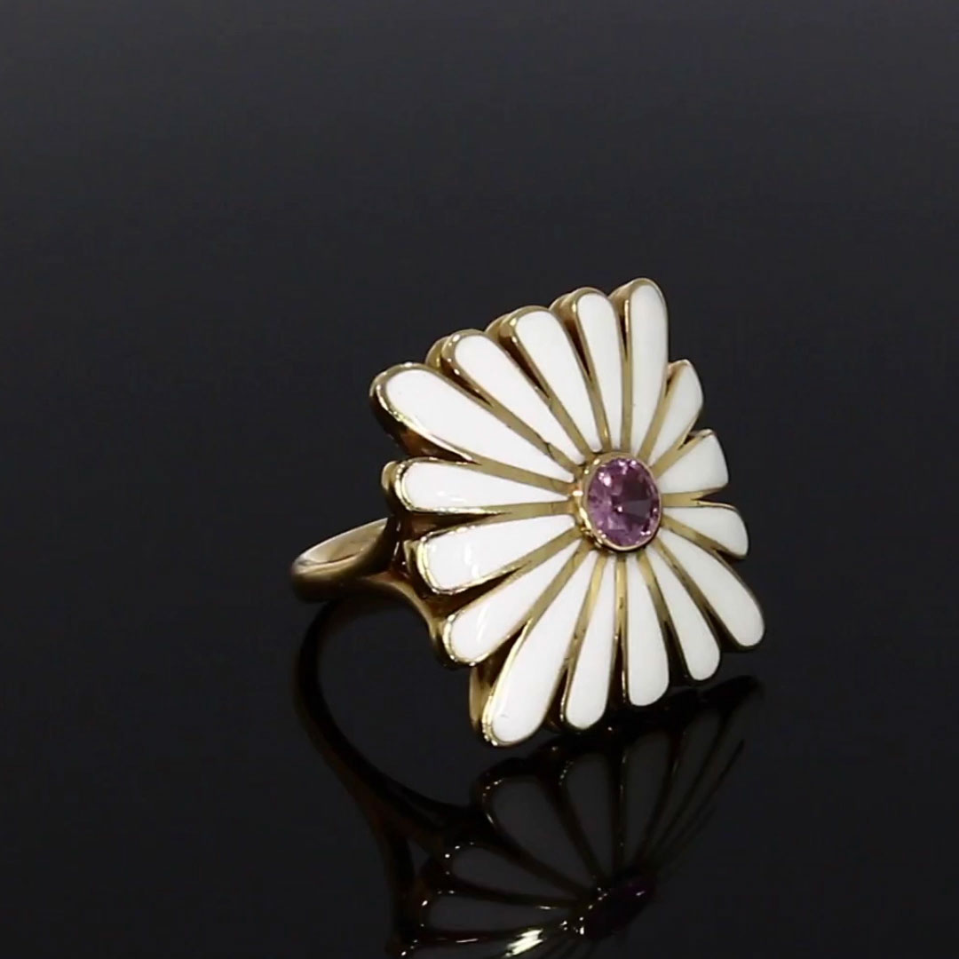 Wildflower Daisy Pink Sapphire Ring<br /> 0.06CT in Rose Gold