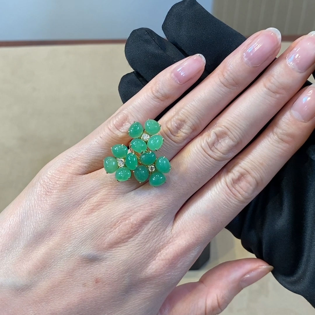 Wildflower Perennial Wallflower Green Chalcedony Ring<br />  in Yellow Gold
