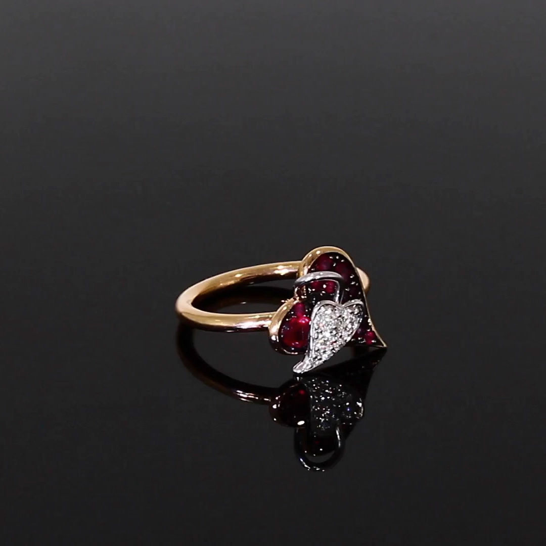Entwined Hearts Ruby and Diamond Cocktail Ring<br /> 0.74CT in Rose and White Gold
