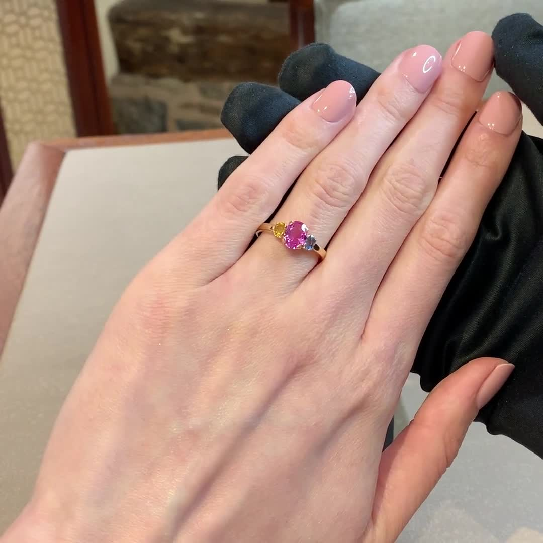 Rainbow Fancy Sapphire Three-Stone Ring<br /> 1.67CT in Rose Gold