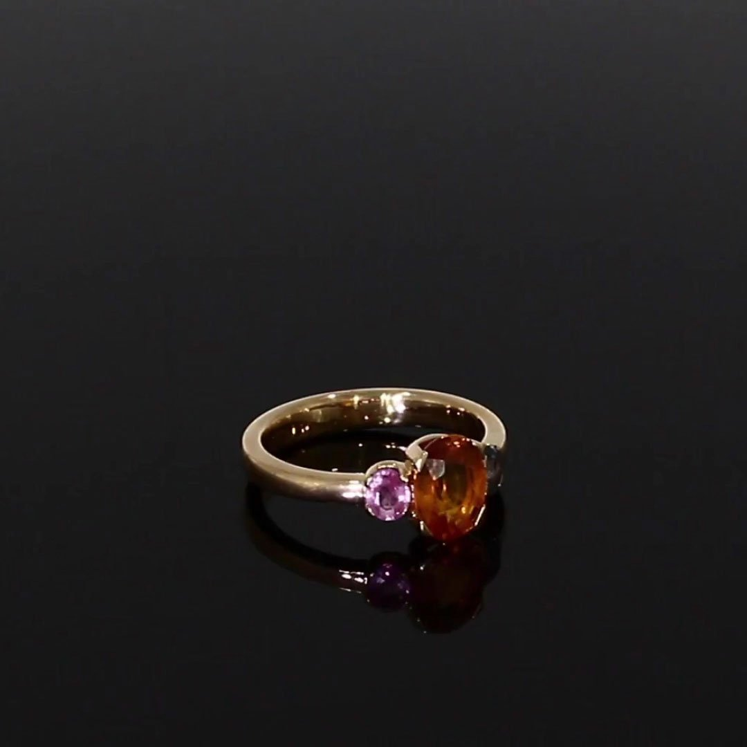 Rainbow Fancy Sapphire Three-Stone Ring<br /> 1.94CT in Rose Gold