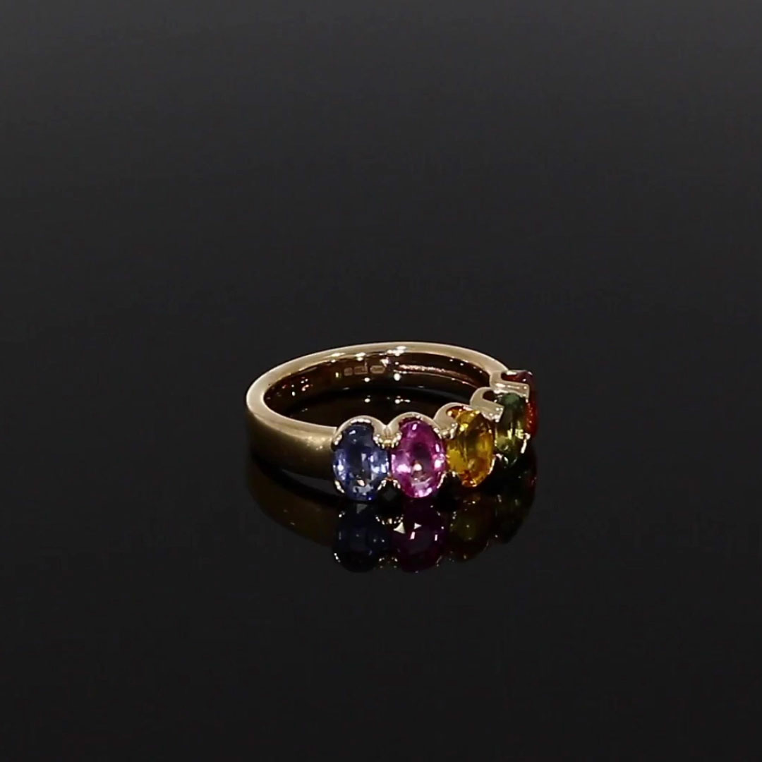 Rainbow Fancy Sapphire Five-Stone Ring<br /> 3.08CT in Rose Gold