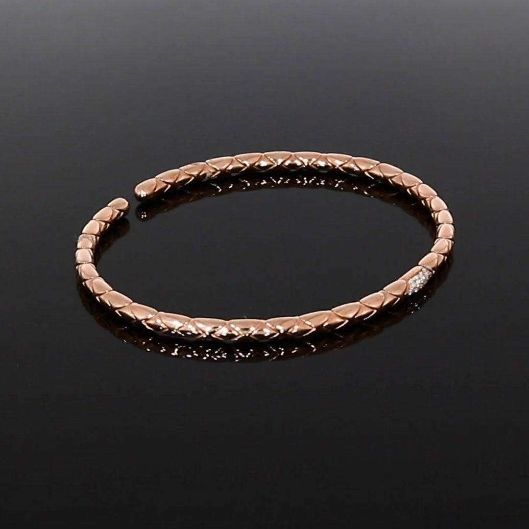 Groove Diamond Textured Bangle<br /> 0.10CT in Rose Gold