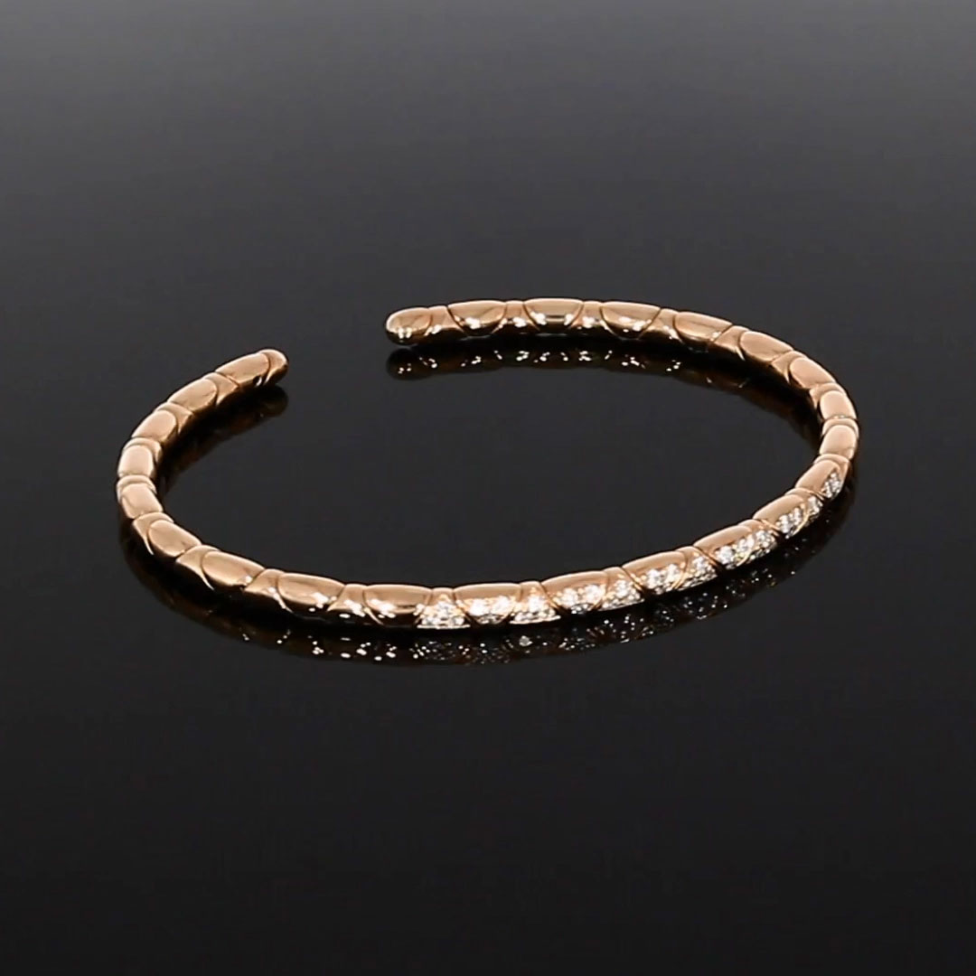 Groove Diamond Textured Bangle<br /> 0.36CT in Rose Gold