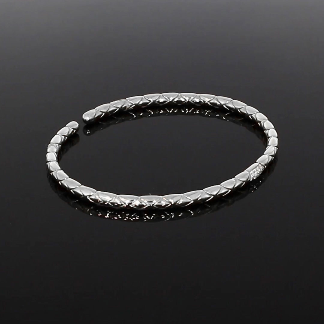 Groove Diamond Textured Bangle<br /> 0.10CT in White Gold