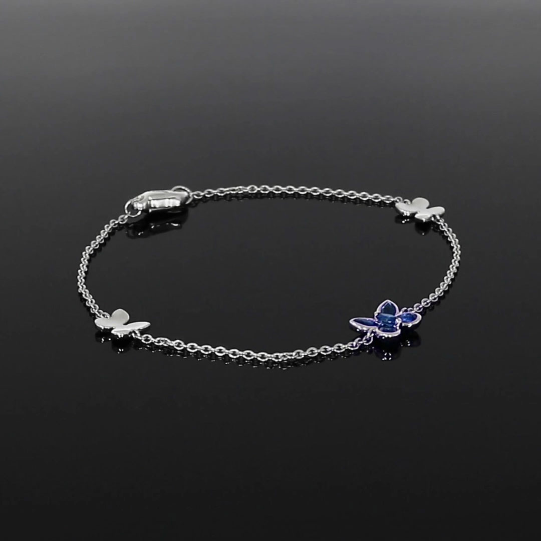 Butterfly Blue Sapphire Chain Bracelet<br /> 0.65CT in White Gold