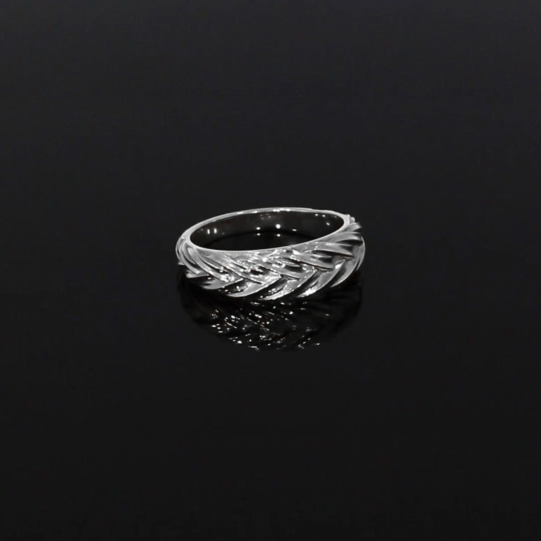 Handmade English Chain Band Ring<br /> in 18CT White Gold