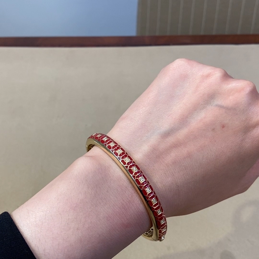 Revival Regency Red Enamel and Diamond Bangle <br /> 0.30ct in Yellow Gold