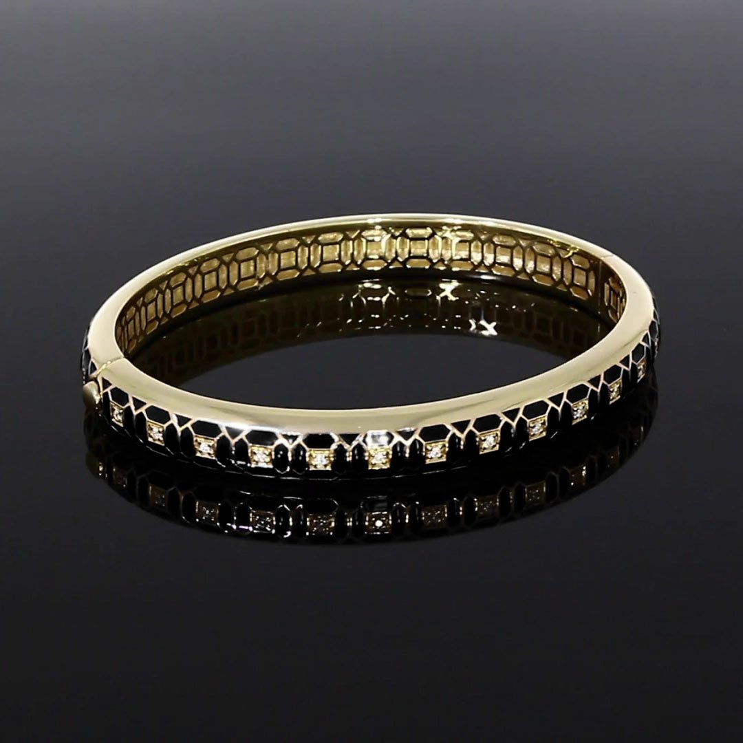 Revival Black Enamel and Diamond Bangle <br /> 0.30ct in Yellow Gold